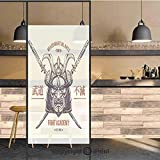 3D Decorative Privacy Window Films,Distressed Rustic Featured Graphic Work of Top Heavy Samurai Mask Facial Armor Mempo,No-Glue Self Static Cling Glass film for Home Bedroom Bathroom Kitchen Office 17