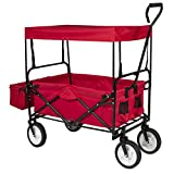 Best ChoiceProducts Folding Wagon with Canopy Garden Utility Travel Collapsible Cart Outdoor Yard Home