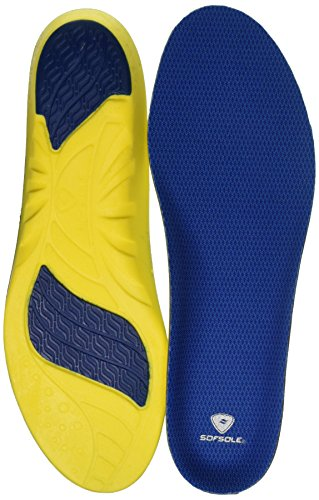 Sof Sole Insoles Men's Athlete Performance Full-Length Gel Shoe Insert, Men's 7-8.5 Blue
