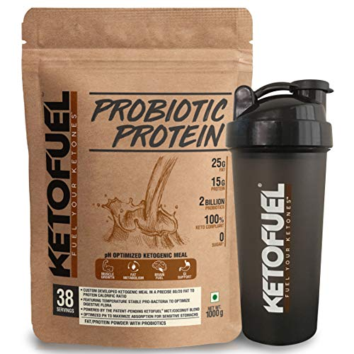Ketofuel® PROBIOTIC PROTEIN Keto Meal Replacement Shake w/Coconut MCT Oil & Probiotics 1kg (Milk Chocolate) w/Free Shaker