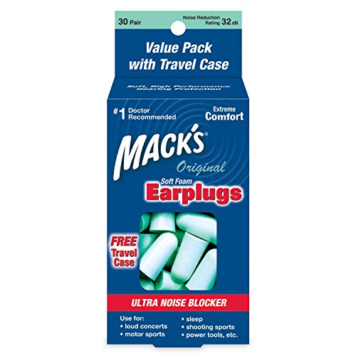 Mack's Original Soft Foam Earplugs, 30 Pair Value Pack - 32dB Highest NRR, Comfortable Ear Plugs for Sleeping, Snoring, Work, Travel and Loud Events