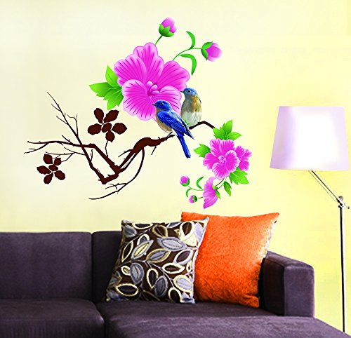 Decals Design StickersKart Wall Stickers Living Room Design Blue Birds with Pink Flowers (Multicolor)