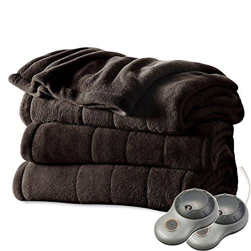 Sunbeam Channeled Microplush King Heated Electric Blanket Walnut Brown