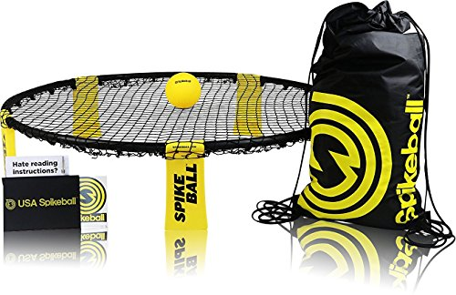 Spikeball Game Set - Played Outdoors, Indoors, Lawn, Yard, Beach, Tailgate, Park - Includes 1 Ball, Drawstring Bag, and Rule Book - Game for Boys, Girls, Teens, Adults, Family