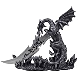 Mythical Guardian Dragon Knife on Display Stand Statue for Gothic & Medieval Decor Daggers or Mantel, Desktop and Shelf Decorations As Decorative Office Gifts For Men