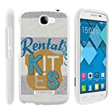 Compatible with Alcatel One Touch Fierce 2 7040T, Rubberized Snap On Shell Full Cover Case Slim Fitted White Cover Images Pop Icon A564C, from TurtleArmor - Rental Tag