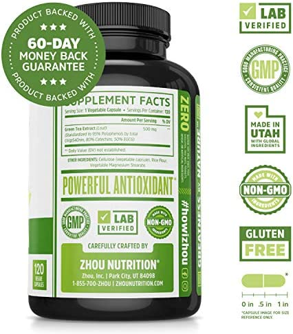 Green Tea Extract Supplement with EGCG for Healthy Weight Support- Metabolism, Energy and Healthy Heart Formula - Gentle Caffeine Source - Antioxidant & Free Radical Scavenger - 120 Veggie Capsules 2
