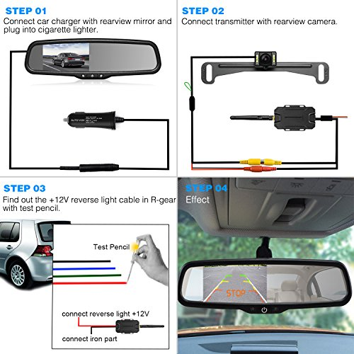 AUTO VOX Wireless Backup Camera Kit with HD Rearview Mirror ...