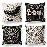 Phantoscope Set of 4 Halloween Decorative Black and White Spider Web Throw Pillow Case Cushion Cover 18 x 18 inch 45 x 45 cm