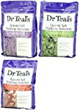 Dr. Teal's Epsom Salt Bundle, 3 Items: 1 Relax & Relief Eucalyptus Spearmint 3lbs, 1 Sooth & Sleep Lavender 3lbs and 1 Therapy & Relief Rosemary and Mint 3lbs.