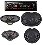 Pioneer MVH-295BT Stereo Single DIN Bluetooth In-Dash USB MP3 Auxiliary AM/FM/Digital Media Pandora and Spotify Car Stereo Receiver With pair of 6.5' and pair of 6x9' Alphasonik Speakers