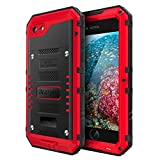 Beasyjoy Metal Phone Case Compatible with iPhone 8/7, Heavy Duty Sturdy Durable Aluminum Cover with Built-in Screen Waterproof Full Body Protection,Shockproof DropProof Rugged Military Grade,Red