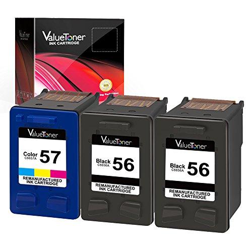 Valuetoner Remanufactured Ink Cartridge Replacement for HP 56 & 57 C9321BN C6656AN C6657AN for Deskjet 5850 5650 5150, Photosmart 7150 7260 7350 7960, PSC 2510 Printer (2 Black, 1 Tri-Color, 3 Pack)