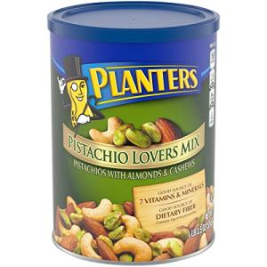 PLANTERS Pistachio Lover's Mix, 1.15 lb. Resealable Canister – Deluxe Pistachio Mix: Pistachios, Almonds & Cashews Roasted in Peanut Oil with Sea Salt – Kosher, Savory Snack