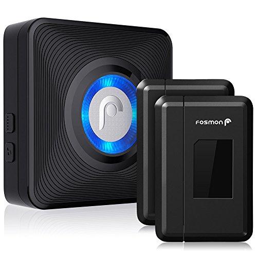 Fosmon WaveLink 51044HOMUS Wireless Door Open Chime (120M/400FT | 52 Tunes | 4 Volume Levels | LED Indicators) 2 Magnetic Door Entry Alert Security Contact Sensor, 1 Wireless Doorbell Plugin Receiver