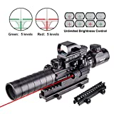 "Pinty Rifle Scope 3-9x32EG Rangefinder Illuminated Reflex Sight 4 Reticle Red&Green Red Dot Laser Sight with 14 Slots 1"" High Riser Mount"