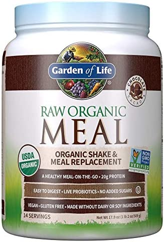Garden of Life Raw Organic Meal Replacement Powder - Chocolate, 14 Servings, 20g Plant Based Protein Powder, Superfoods, Greens Vitamins Minerals Probiotics Enzymes, All-in-One Meal Replacement Shake 1