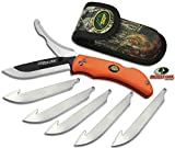 Outdoor Edge RazorPro, RO-20, Replaceable Razor Blade Hunting Knife with Gutting Tool, Blaze Orange Handle with Mossy Oak Sheath and 6 3.5 Inch Blades