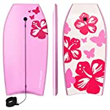 Goplus 41 inch Super Bodyboard Body Board EPS Core, IXPE Deck, HDPE Slick Bottom with Leash, Light Weight Perfect Surfing for Kids and Adults (Pink)