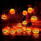 Mibor Halloween Pumpkin Lights Lanterns, 10 LED Pumpkin Lights 3D Jack o Lantern Halloween Pumpkin Lights Decor Indoor Outdoor Party Ideas, Orange