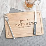 Personalized Fathers Day Gifts - Wooden BBQ Cutting Board/Grilling Gifts For Men / / James Bond Licensed To Grill/Funny Novelty Gift Idea - 12x8'