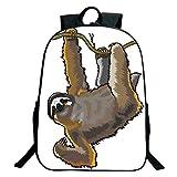 Pictures Print Design Black School Bag,backpacksAnimal Decor,Cartoon like Sloth Bear Tropic Wild Cute Lazy Sleepy Creature Australian Theme Art,Grey,for Kids,Comfortable Design.15.7'x 11.8'x 5.1'