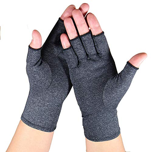 Arthritis Gloves - Relief Finger Joint Pain, Compression Gloves for Arthritis in Hands - Arthritic Fingerless Gloves (L, Grey)