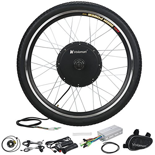"""Voilamart 26"""" Front Wheel 48V 1000W Electric Bicycle Conversion Kit E-bike Cycling Brushless Hub Motor w/ Intelligent Controller Restricted to 750W for Road Bike"""