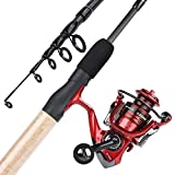 YONGZHI Fishing Rod and Reel Combos,2-Piece Carbon Fiber Protable Fishing Poles with Spinning Reels for Bass,Trout-Ljhsytz