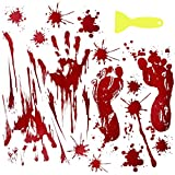 LAWOHO Halloween Party Stickers Window Clings Wall Decals Vampire Zombie Party Decorations Supplies Bloody Handprint Footprints Living Floor Bathroom Decor