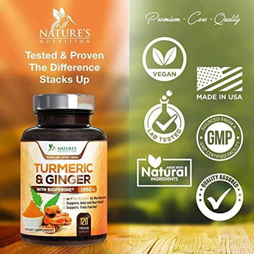 Turmeric Curcumin with BioPerine & Ginger 95% Curcuminoids 1950mg - Black Pepper for Absorption, Made in USA, Natural Immune Support, Turmeric Ginger Supplement by Natures Nutrition - 120 Capsules 5