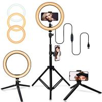 "Belifu 10"" Selfie Ring Light with 2 Mini Tripod Stand, 3 Modes 10 Brightness Levels with 120 LED Bulbs, LED Ring Light with Phone Holder for Vlogs, Live Stream, Phone,YouTube,Self-Portrait Shooting…"