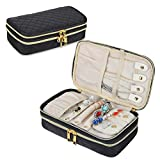 Teamoy Double Layer Jewelry Organizer, Quilted Jewelry Travel Case for Rings, Necklaces, Earrings, Bracelets and More, Black