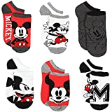 Disney Mickey Mouse 6 pack Socks (9-11 (Shoe: 4-10), Classic Mickey White/Red)
