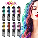 Hair Chalk, ETEREAUTY Hair Chalk Color Comb Temporary Hair Color Cream Non-toxic Washable with Shawl for Kids Party and Cosplay, Hair Chalk Pens Works on All Hair Colors (8 Colors)