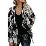Dressin Women's Turn Down Shawl Collar Check/Grid/Black Asymmetric Hemline Cashmere Coat