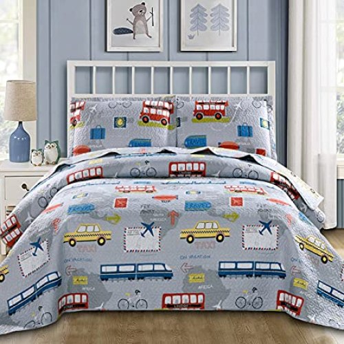 Lightweight Quilts Set Multi-Color Traffic Bedding Full/Queen Size,3Pcs Kids Summer Bedspreads Car Taxi Bus Airplane…