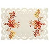 Grelucgo Set of 4 Thanksgiving Holiday Table Placemats, Rectangular 12 by 18 Inch, Fall Autumn Maple Leaves Decorations