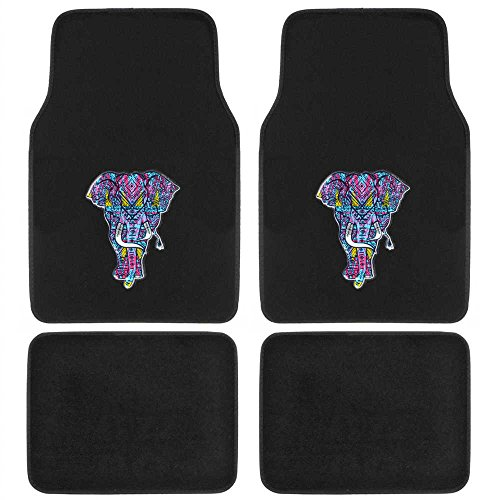 BDK MT542 Neon Butterflies Trippy Elephant Embossed Design Carpet Car Floor Mats for Auto Van Truck SUV - 4 Pieces Front & Rear Full Set with Rubber Backing - Universal Fit