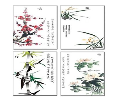 SimonfineUs Chinese Freehand Ink Painting Plum Blossom Orchid Bamboo and Chrysanthemum