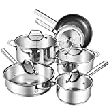 Deik Cookware Set, Kitchenware Set, MultiClad Pro Stainless Steel 12-Piece Pots and Pans Set, Rustproof & Oven-Safe Cooking Pots, PFOA Free & Riveted Handles with a Bonus of Oven Mitts (Silver)
