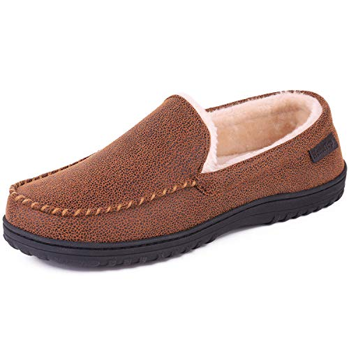 Men's Wool Micro Suede Moccasin Slippers House Shoes Indoor/Outdoor (45 (US Men's 12), Faux Leather - Classic Tan)
