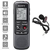 Sony Digital Voice Recorder ICD-PX Series, with Built-in Mic and USB, 4GB Memory, Noise Cut for Noise-Free Recordings, Includes A NeeGo Lavalier Lapel Mic