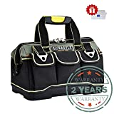 Tool Tote Bag 14-inch Canvas Thickened Tool Storage Bag Multi-Functional Electrician & Carpenters Tool Bag for Electrical Carpentry Metals Maintenance
