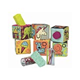 B. toys - aBc Block Party Baby Blocks - Soft Fabric Building Blocks for Toddlers - Educational Alphabet Blocks with 6 Toy Blocks and 5 Shapes - Grab and Stack Blocks - BPA free