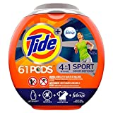 Tide PODS Plus Febreze Sport Odor Defense 4 in 1 HE Turbo Laundry Detergent Pacs, Active Fresh Scent, 61 Count Tub - Packaging May Vary