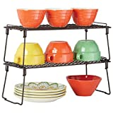 mDesign Metal Stackable Storage Shelf - 2 Tier Raised Food and Kitchen Organizer for Cabinets, Pantry Shelves, Countertops, Closet, 2 Pack, 7' x 17.3' x 6.5' - Bronze