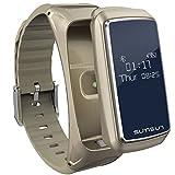 BOND B7 Bluetooth Smart Band Talkband Heart Rate Monitor Sport Health Smartband with Music Player Wristband (Gold)