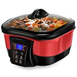 COSTWAY 8 in 1 Multi Cooker Programmable Multiple Cooking Options w/ Non-stick Pot & LCD display, Slow Cook, Fast Stew, Stir-fry, Boil, Sous Vide, Grill, Fry, Steam, Keep Warm Function, 5.3 Quart Slow Cooker (Red)