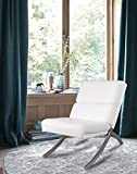 Product review for White Bonded Leather Chrome Metal Frame Contemporary Accent Lounge Chair